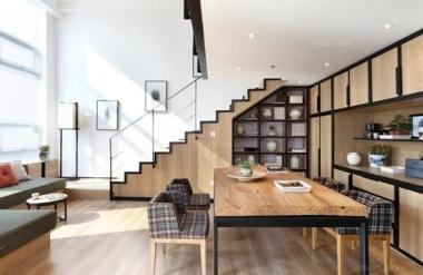 温暖原木色单身公寓效果图